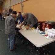 Construction de maquettes en carton du Club de Meaux